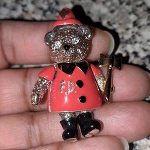 Vintage Napier Enamel Fireman Teddy Pin